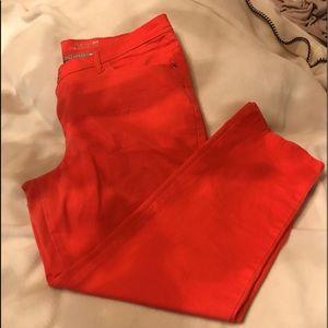 Denim - Coral color jeans